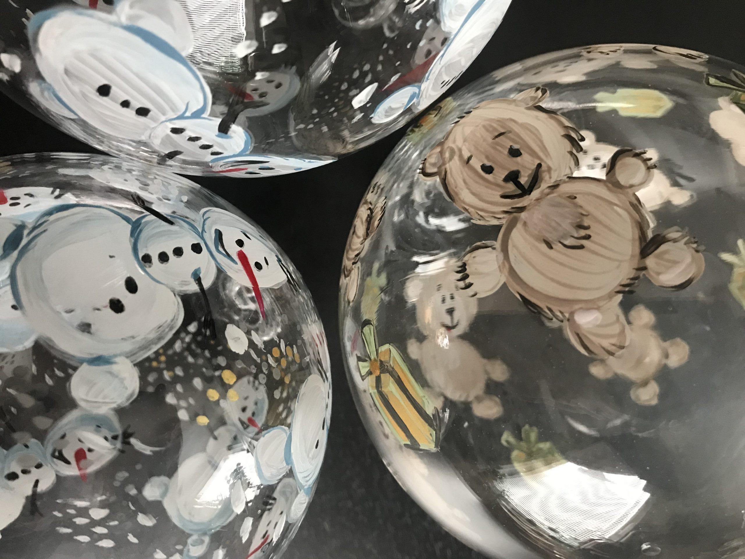 "Glaskugeln ""dancing Snowman, Teddy"" (c)kheymach, Emi Yamamoto"