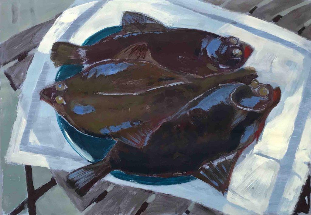 Drei Flundern, (Ostsee) Acryl 2021 (c) Kerstin Heymach